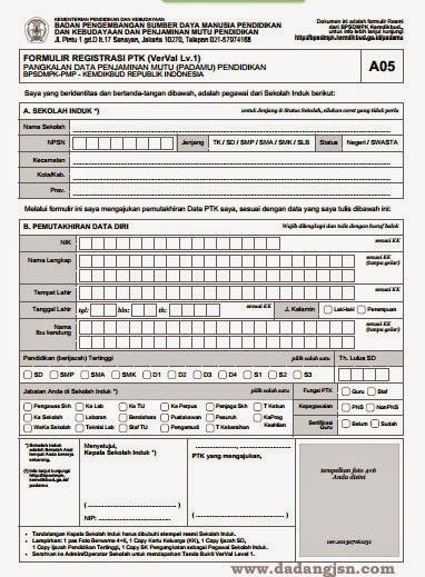 PETUNJUK REGISTRASI / AKTIFKAN PTK BARU PADAMU NEGERI 2015