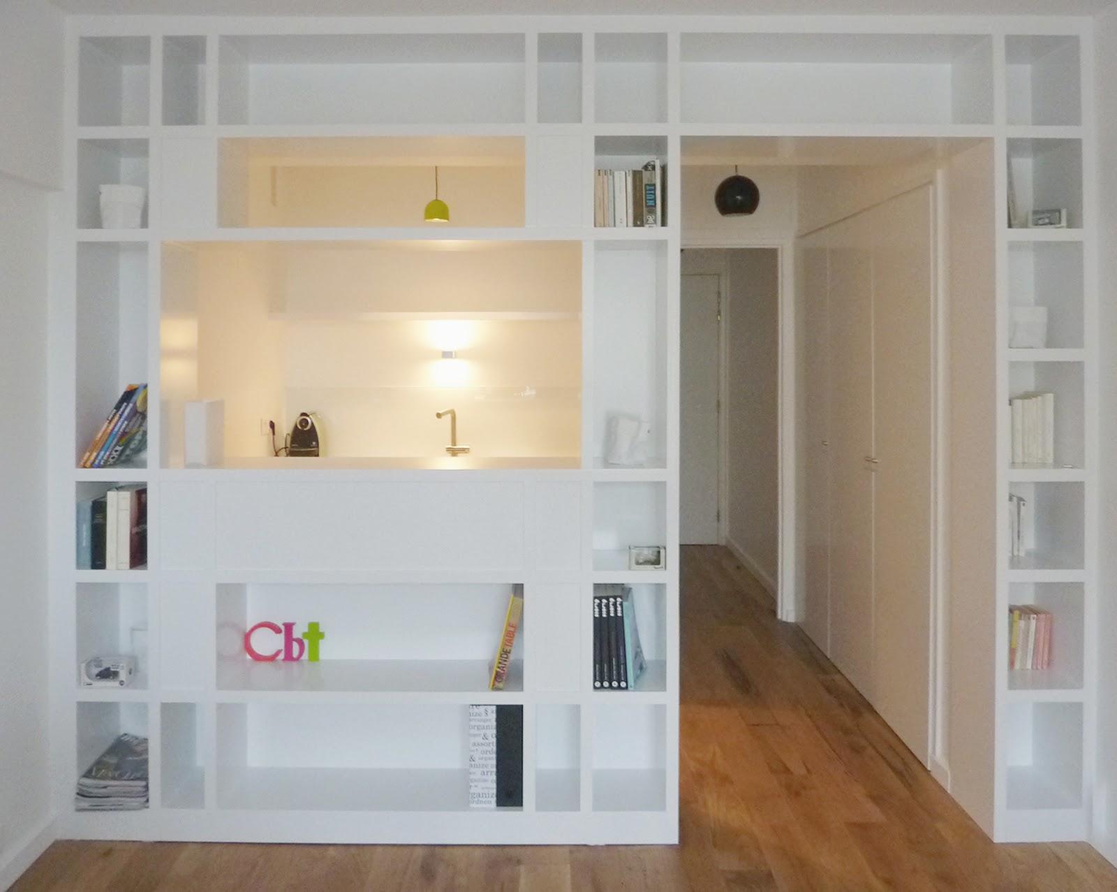 Restructuration d 39 un studio paris xvi me marion millet architecte dplg - Cloison amovible bibliotheque ...