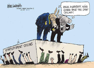 Mike Luckovich cartoon: raising the employment ceiling