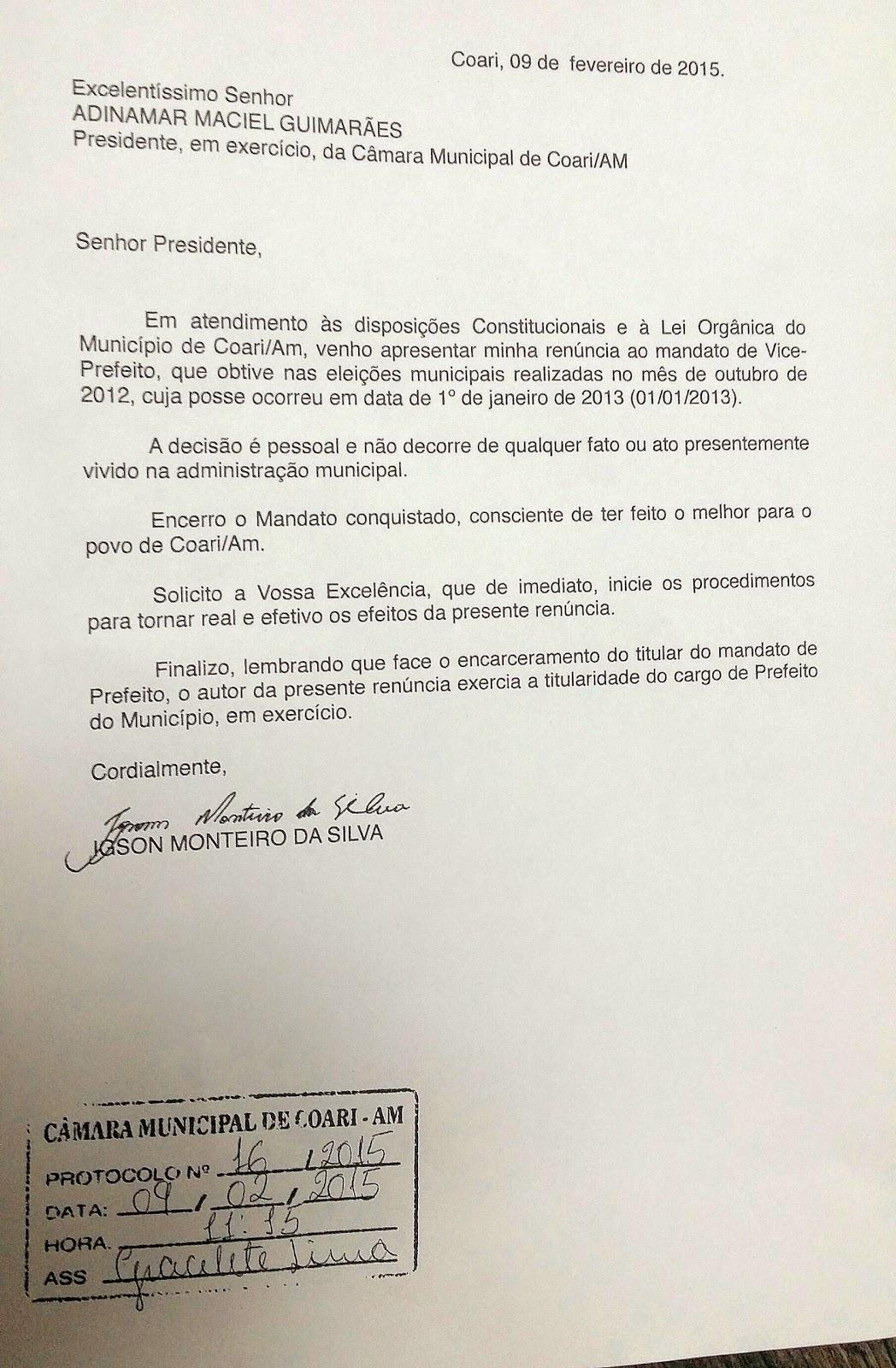 OFICIAL: IGSON MONTEIRO RENUNCIA AO MANDATO EM COARI