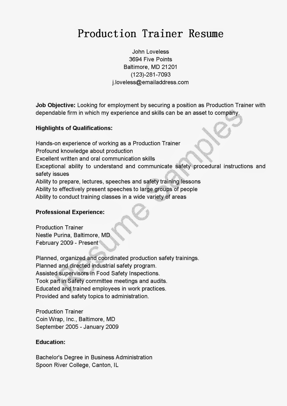 resume samples  production trainer resume sample
