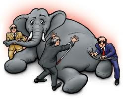 elephant and three men