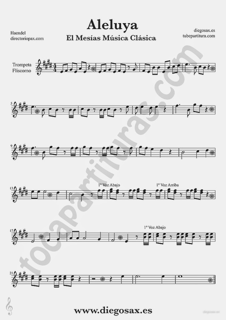 Tubepartitura Aleluya de Haendel partitura de Trompeta y Fliscorno El Mesias