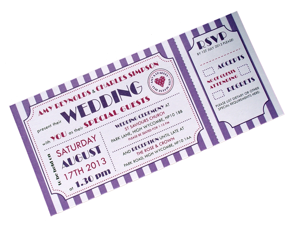 gallery for concert ticket wedding invitations