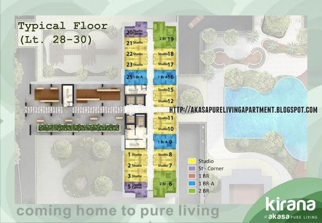 Denah Lantai Tower Kirana Apartemen Akasa BSD