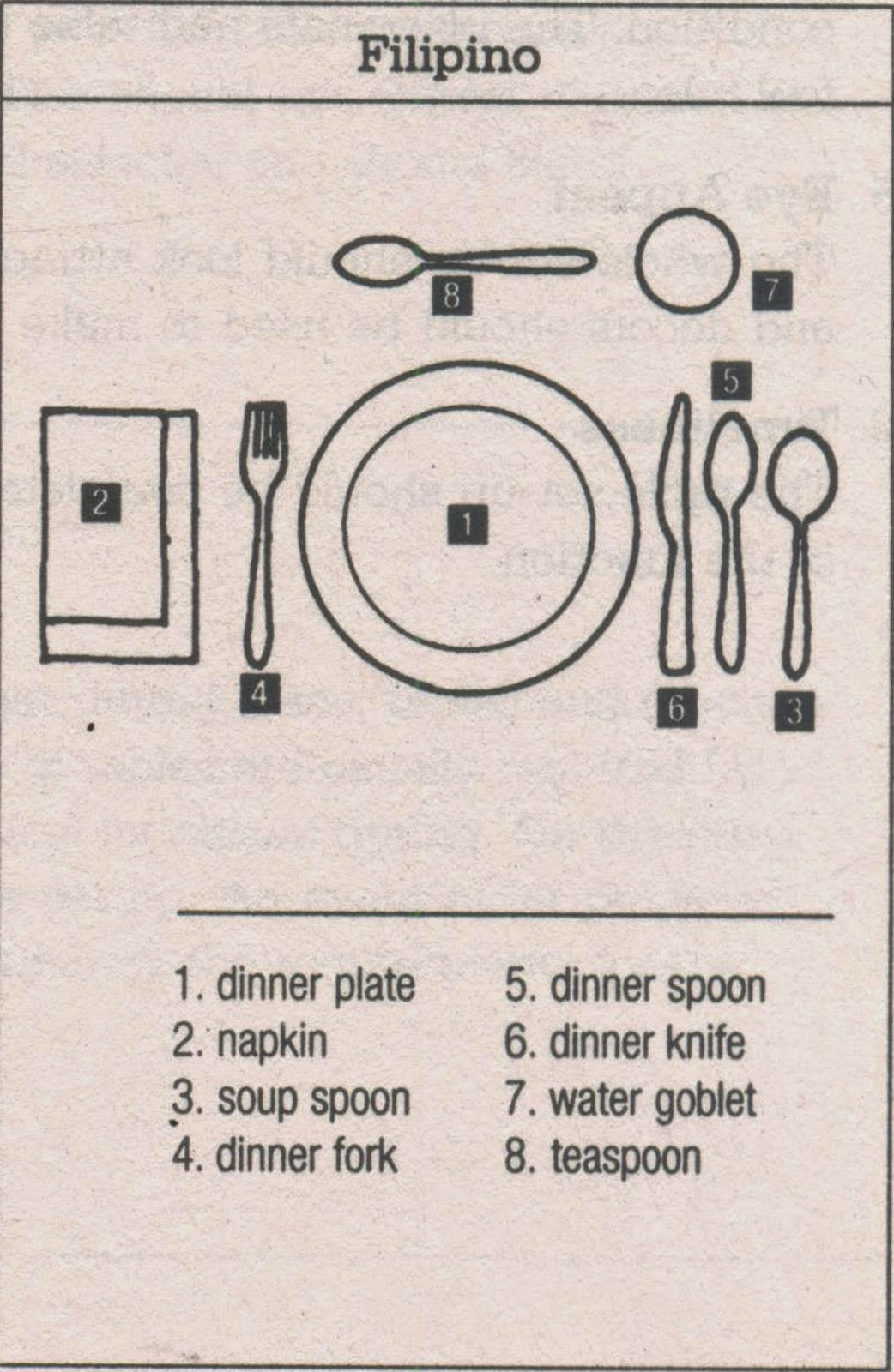 Filipino table setting - Different Table Setting