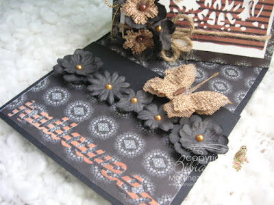 halloween twisted easel card base panel with petaloo flowers