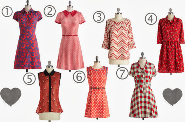 Modcloth, modcloth.com, Polyvore, collage, collection, set, red dresses, printed dresses, retro style dresses, plaid, stars, zig zag, tie neck, wishlist, Museum Cafe Dress, Be A Dear Dress, Work Window Seat Top, Ooh La Lemur Dress, It's An Illusion Top, Oh My Stars Dress, Think Out Laud Dress, A Coin For the Well