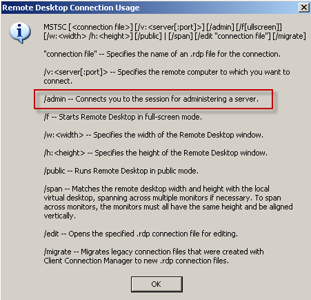 It knowledge base faq remote desktop connection rdp to the console session - Remote desktop console mode ...