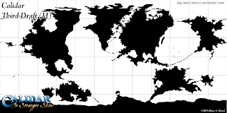 The World of Calidar, Third Draft World Map, Equirectangular Projection