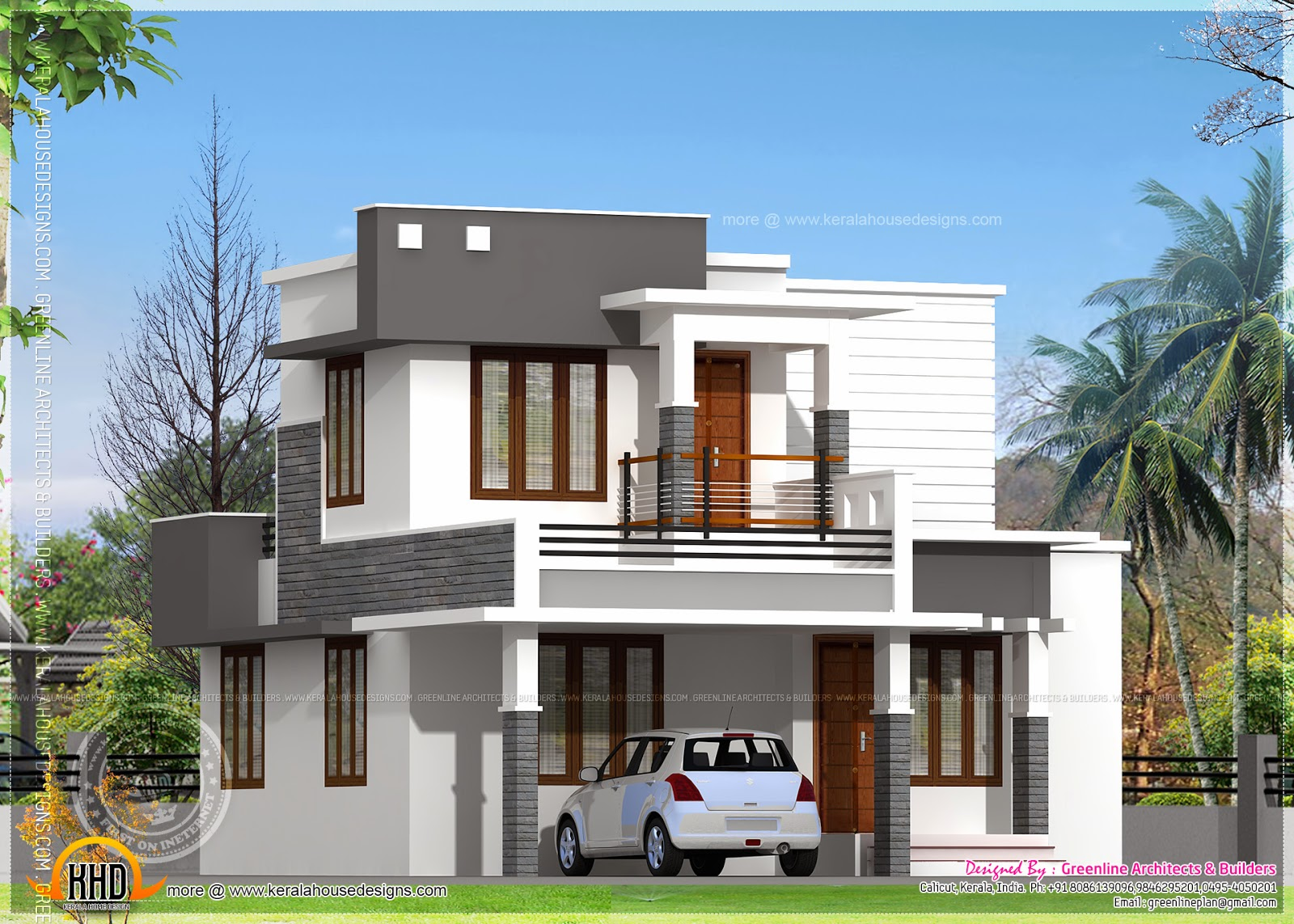 Small flat roof double stories house kerala home design for Small house roof design pictures