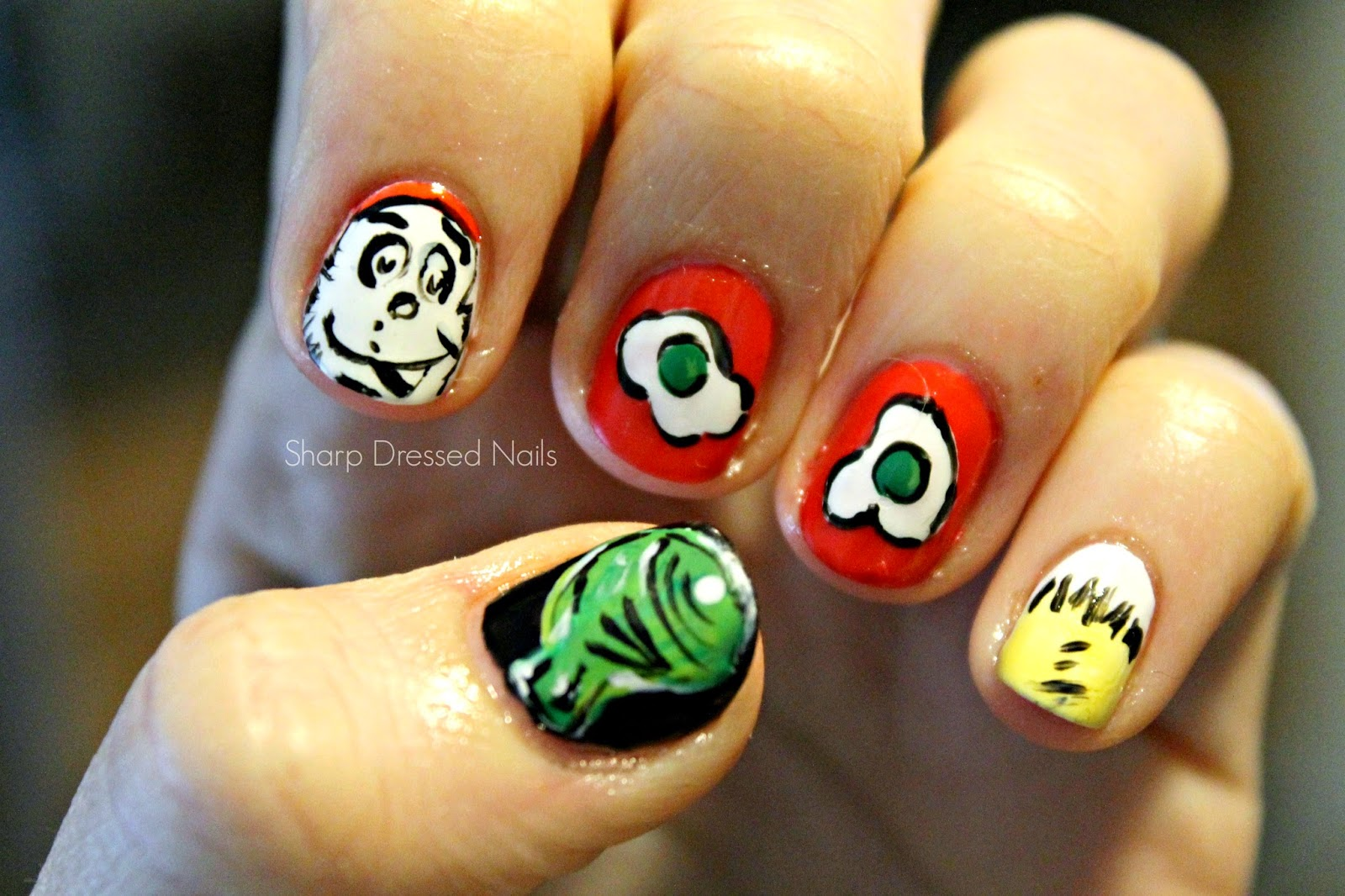 Sharp Dressed Nails Dr Seuss Green Eggs And Ham Nails