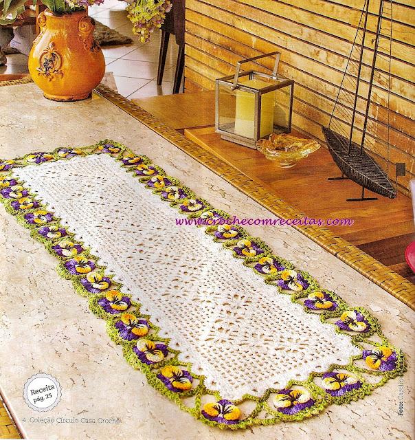caminho de mesa em croche croche com receitas e graficos