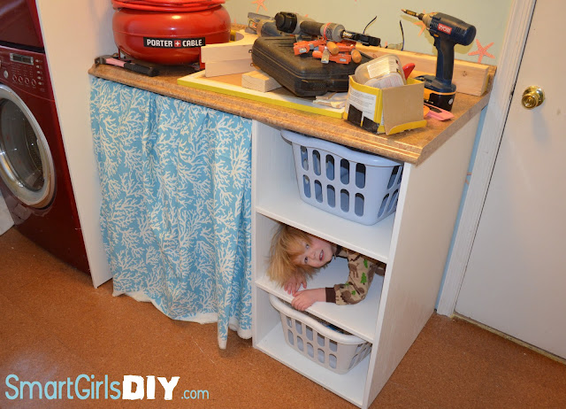 Laundry Room Shelf with Baskets