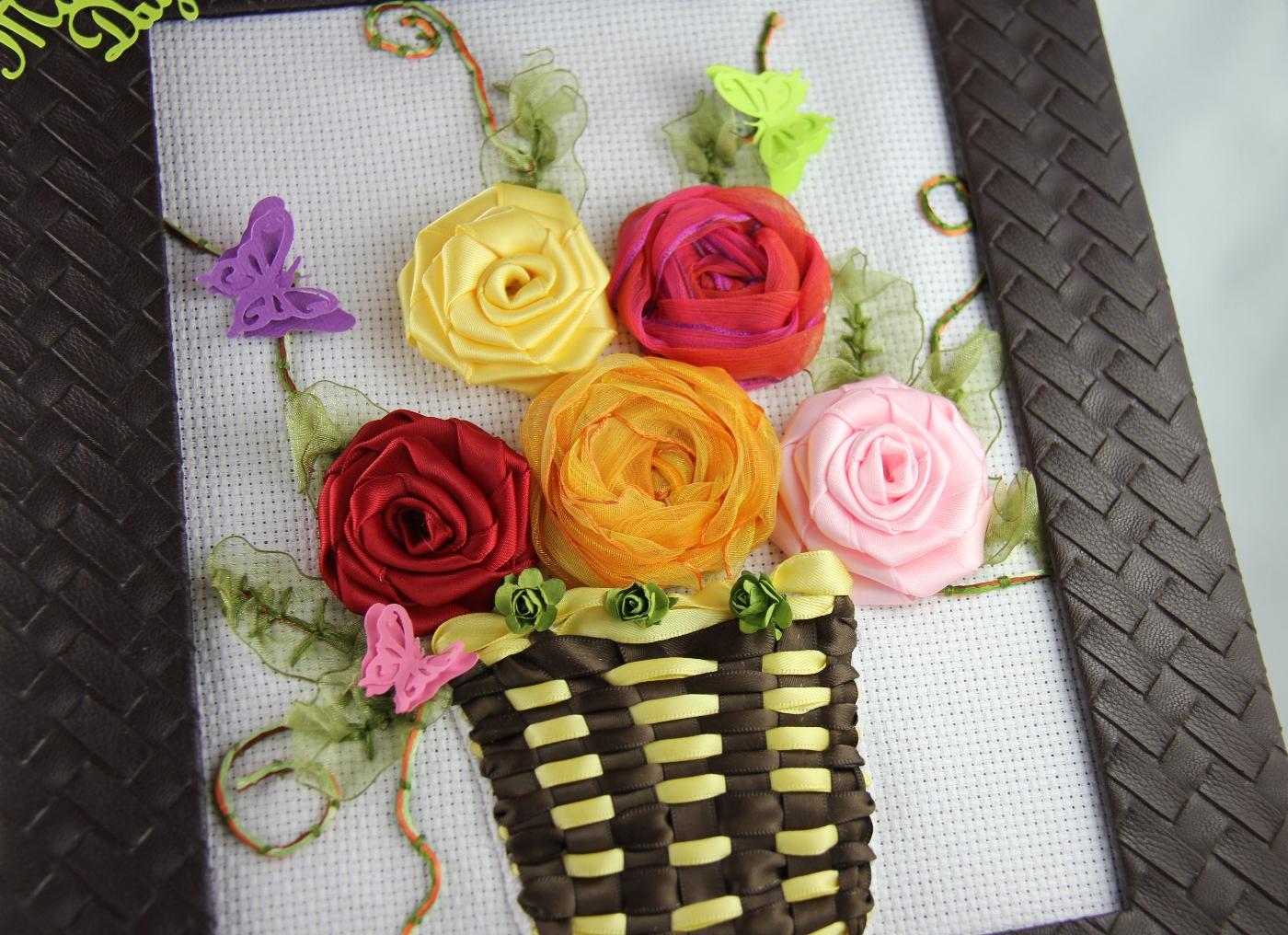 Jinkys Crafts Designs Framed Ribbon Spring Flowers