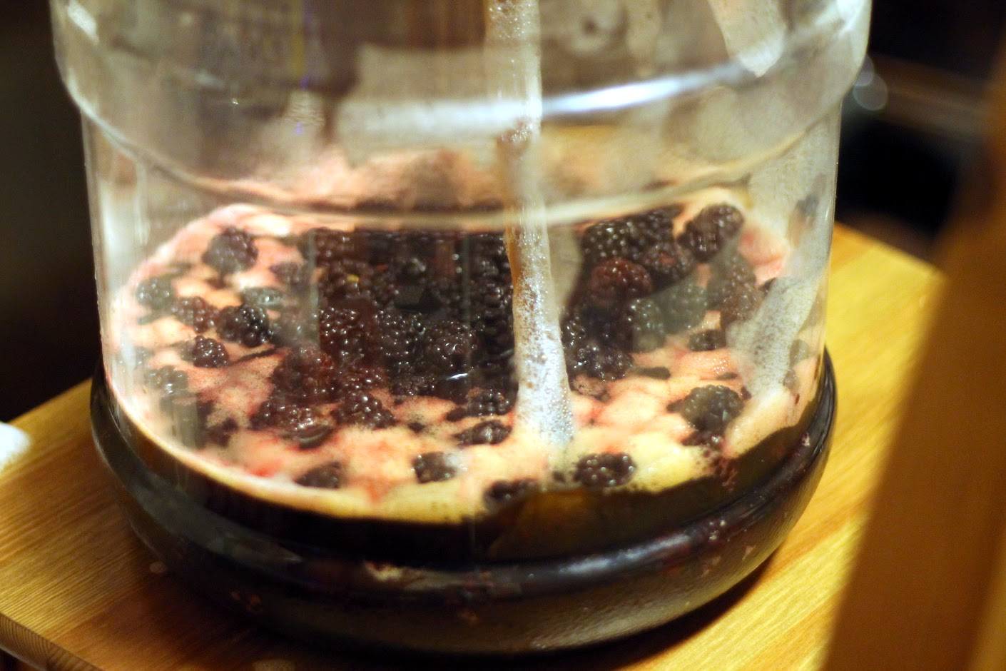 Soured stout racking onto blackberries.