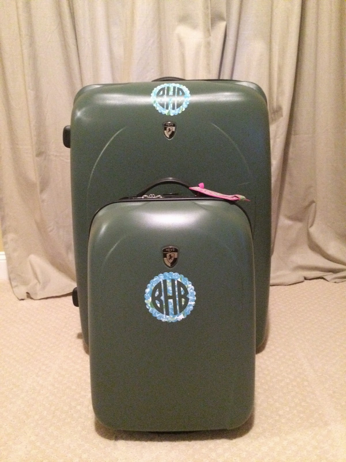 lilly pulitzer monogram suitcase blue first impression