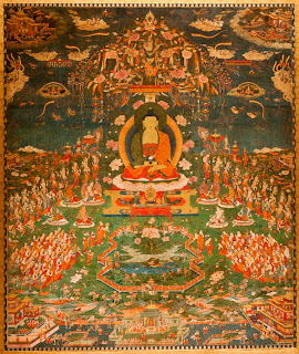 Amitabha in Sukhavati Paradise', Tibetan, circa 1700, San Antonio Museum of Art.