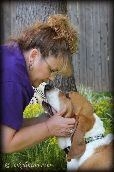 Basset and owner love each other