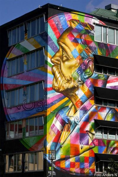 Alfred Nobel, väggmålning, nobelpriset, Borås