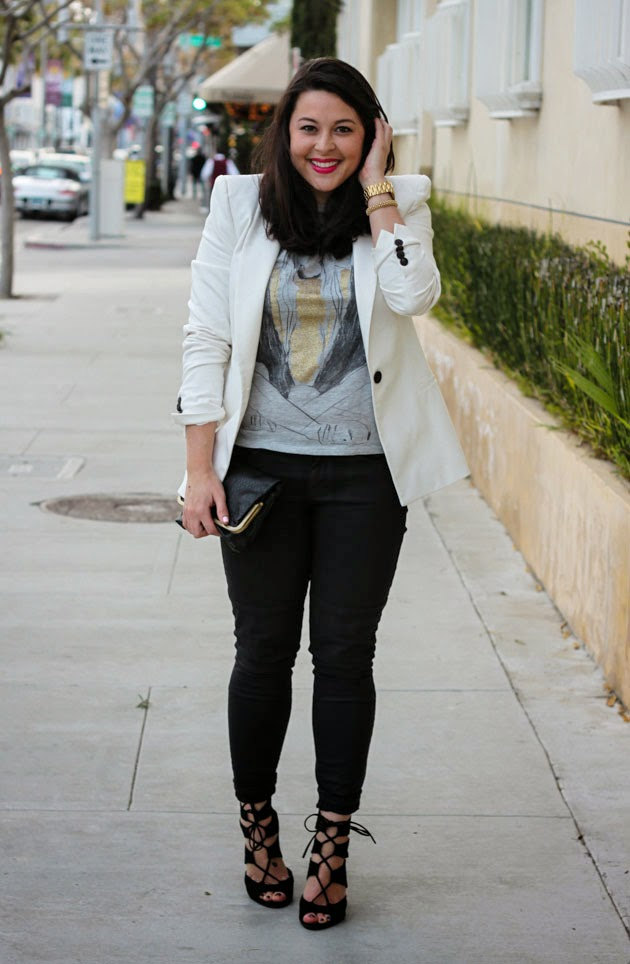 graphic tee white blazer bareminerals bright pink strappy heels
