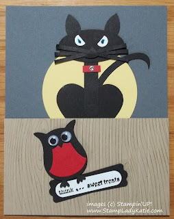 Punch Art Halloween card with Cat and Owl (Stampin'UP! Punches)