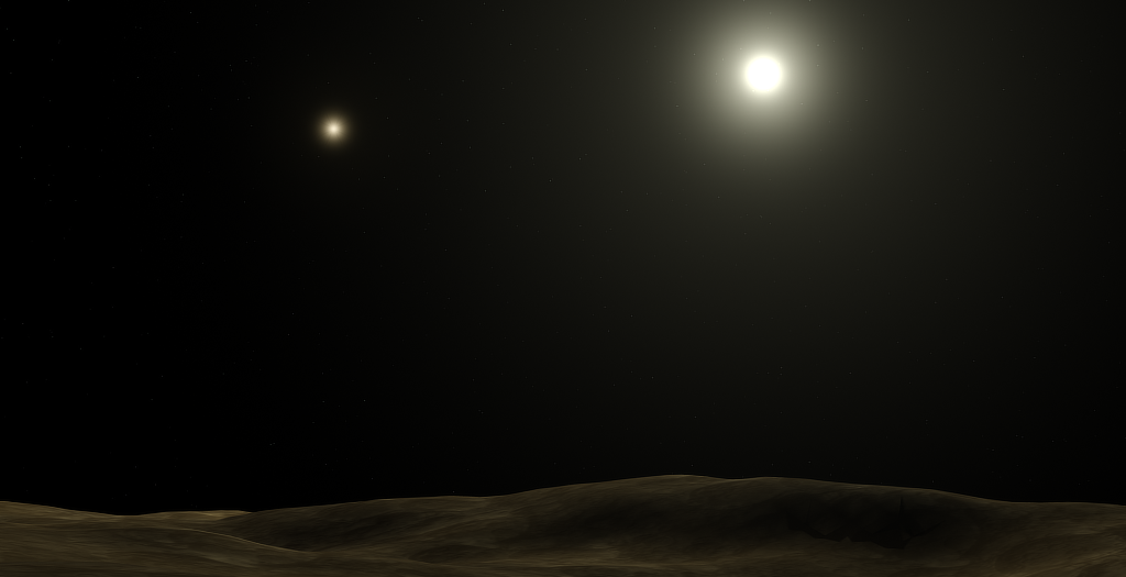 Artist's rendition of the view from a hypothetical airless planet orbiting Alpha Centauri A. Credit: The plague/Wikipedia