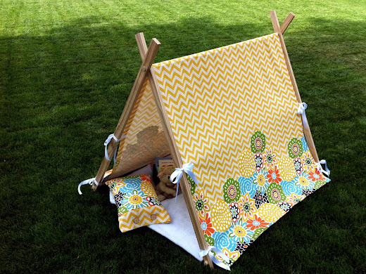 children's DIY play tent using a-frame wooden slats and fabric covering
