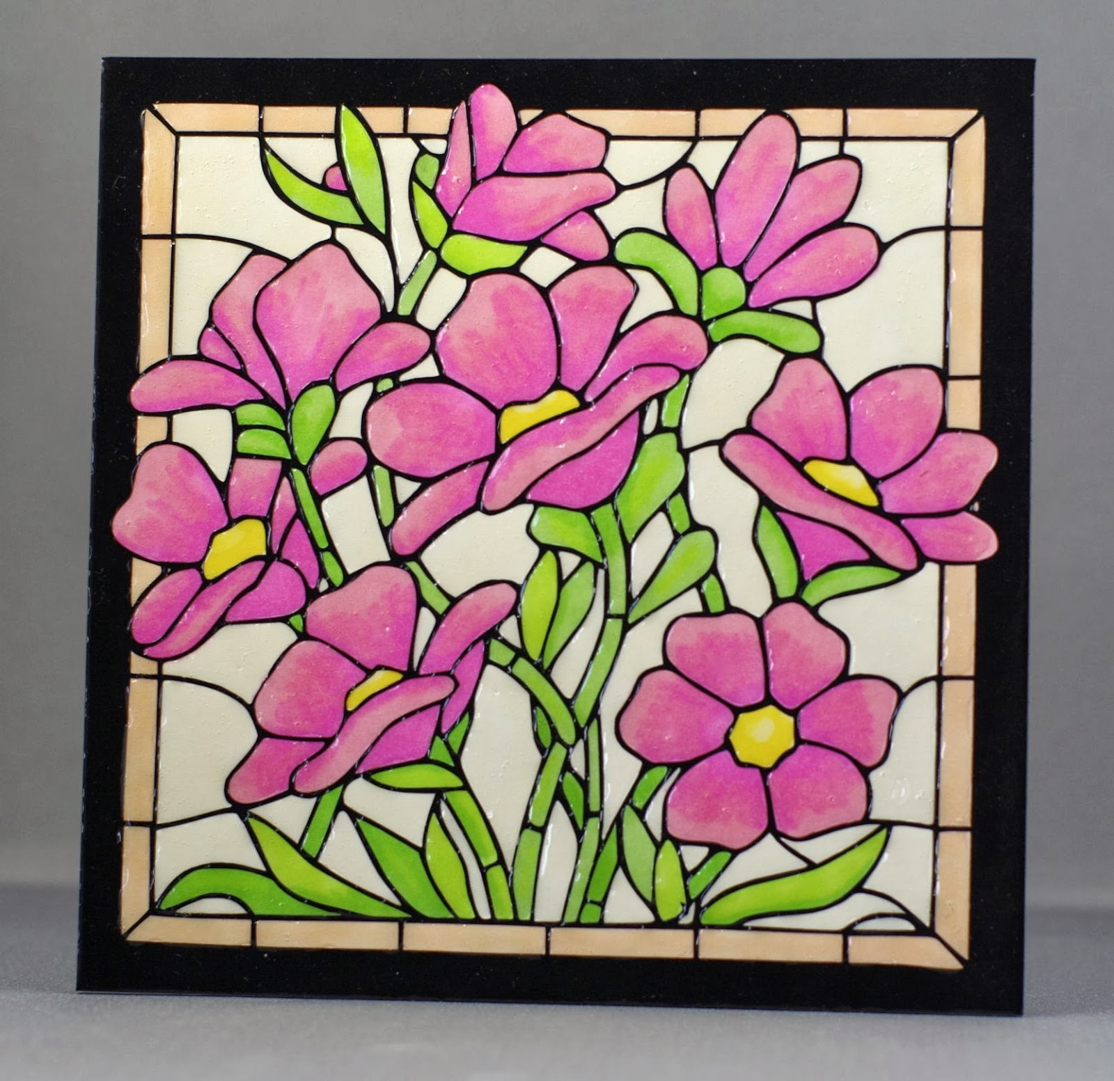 Lynne 39 s crafty little blog stained glass effect tile for Glass painting templates