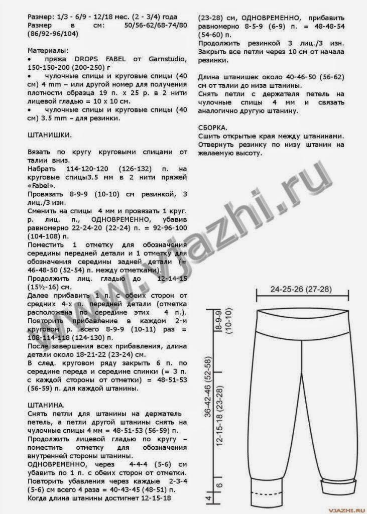 Как связать новорожденному штанишки спицами схема