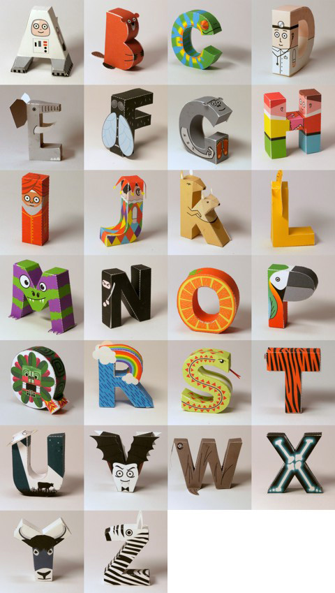 alphabet 3d papercraft template paperox free papercraft