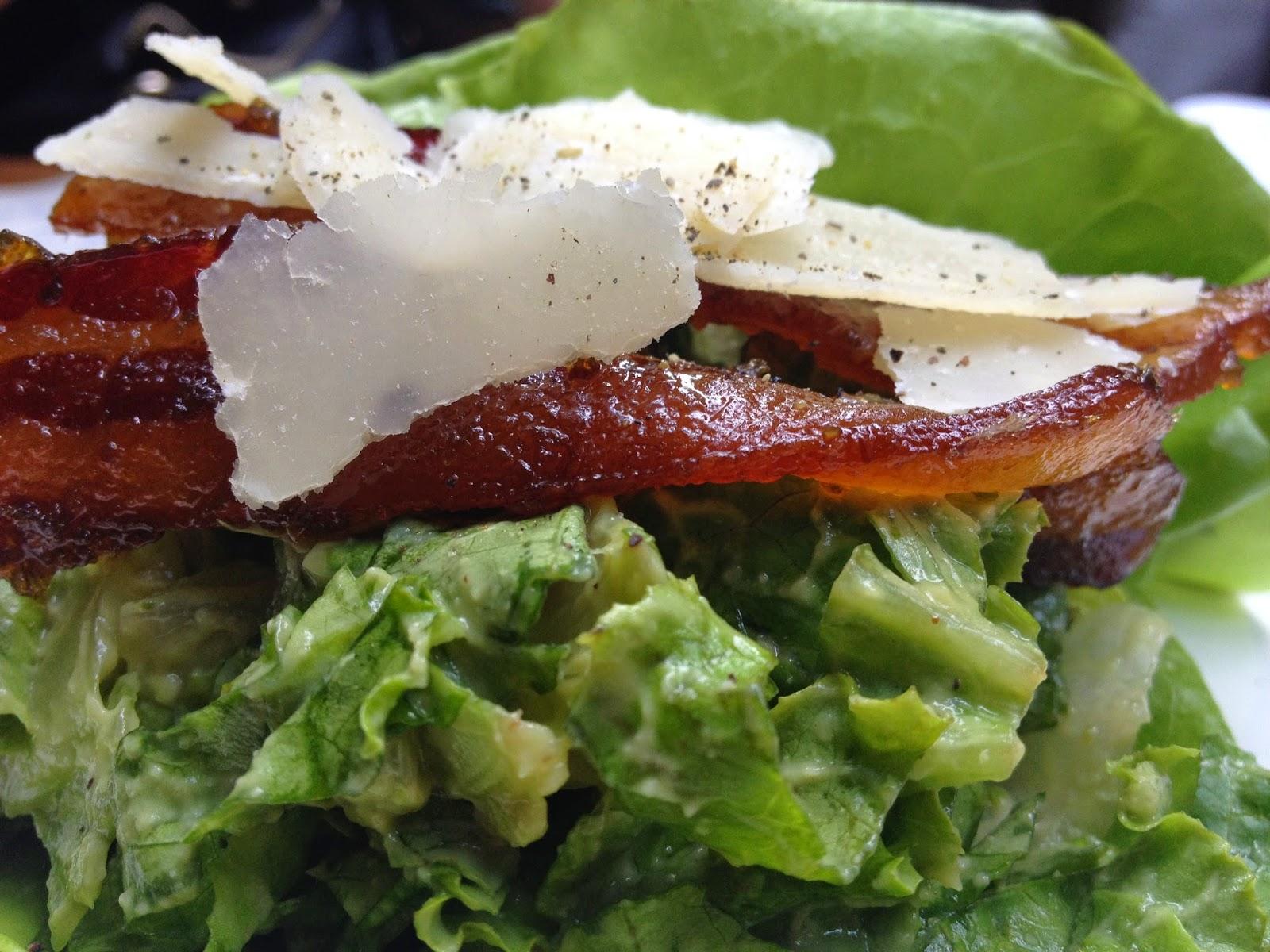Avocado Caesar Mousse with Maple Jalapeno Candied Bacon Fonda Lola Toronto
