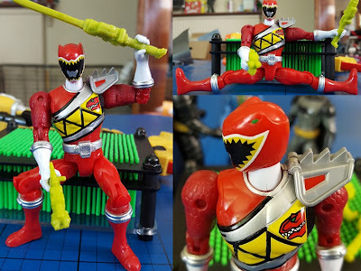 Bandai Power Rangers Red Ranger leaping and sitting