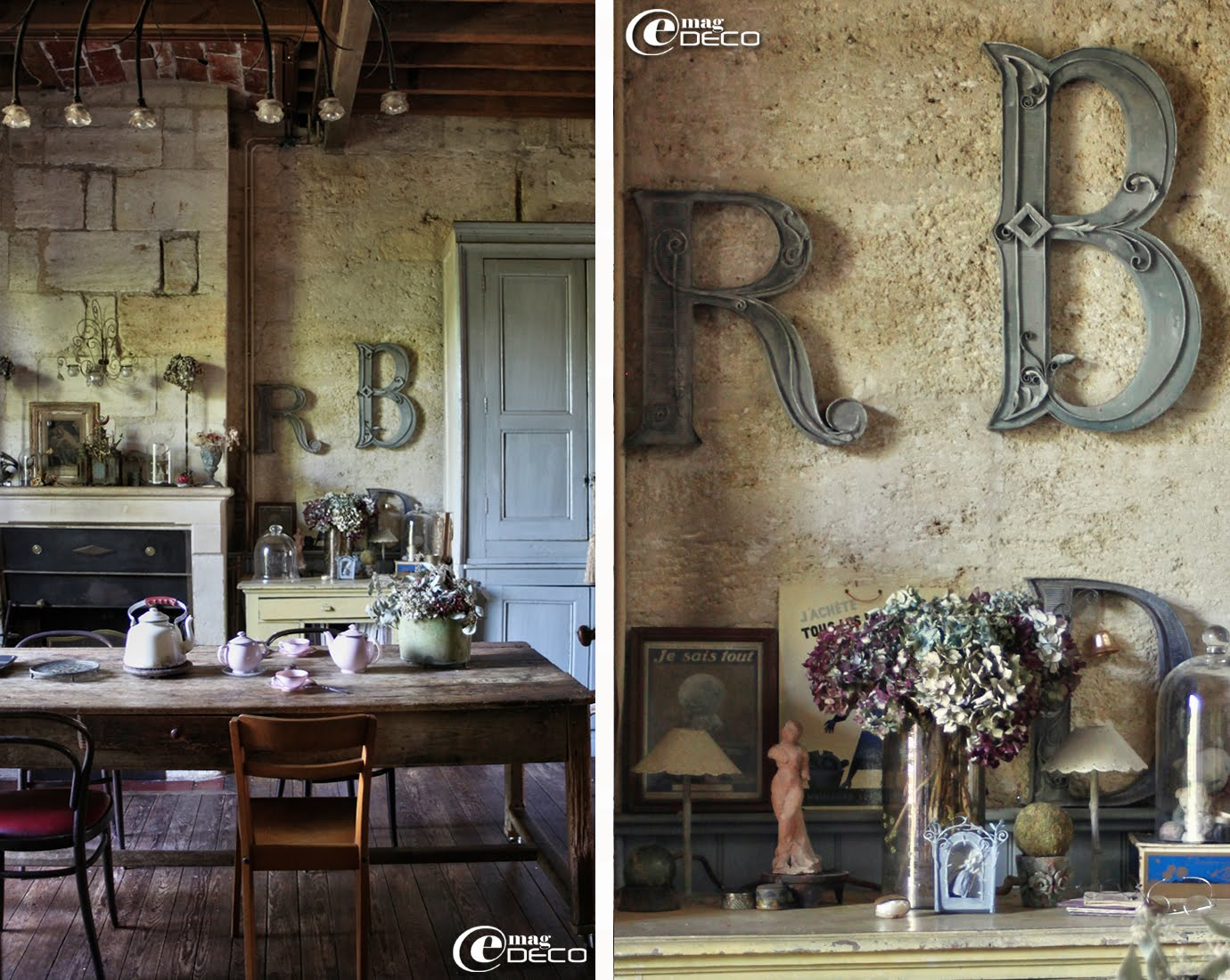 Lettres en carton accrochées au mur de la salle à manger chez Miss Clara