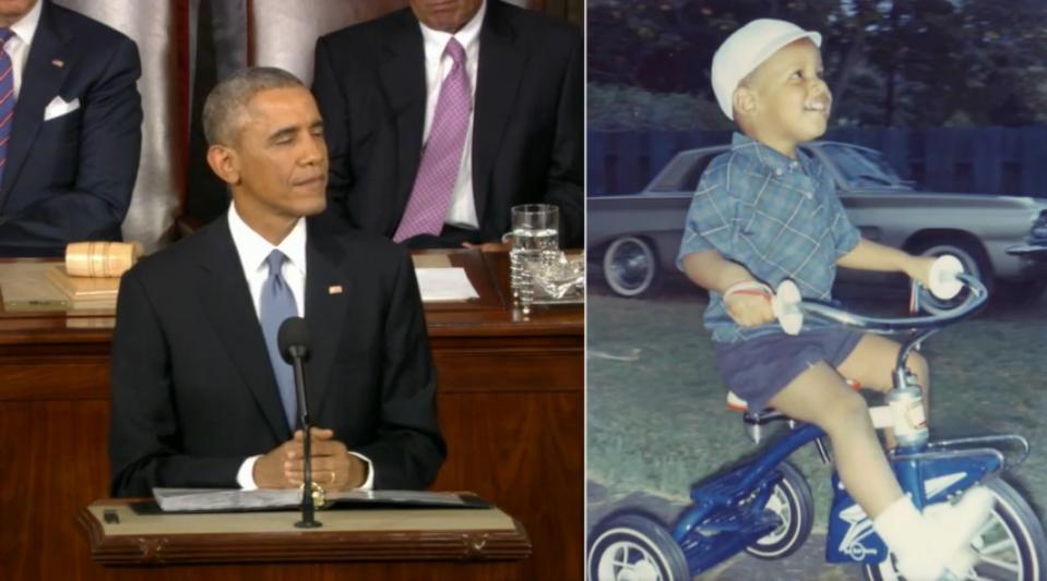 President Obama vs. Barack Obama as child on bicycle bike