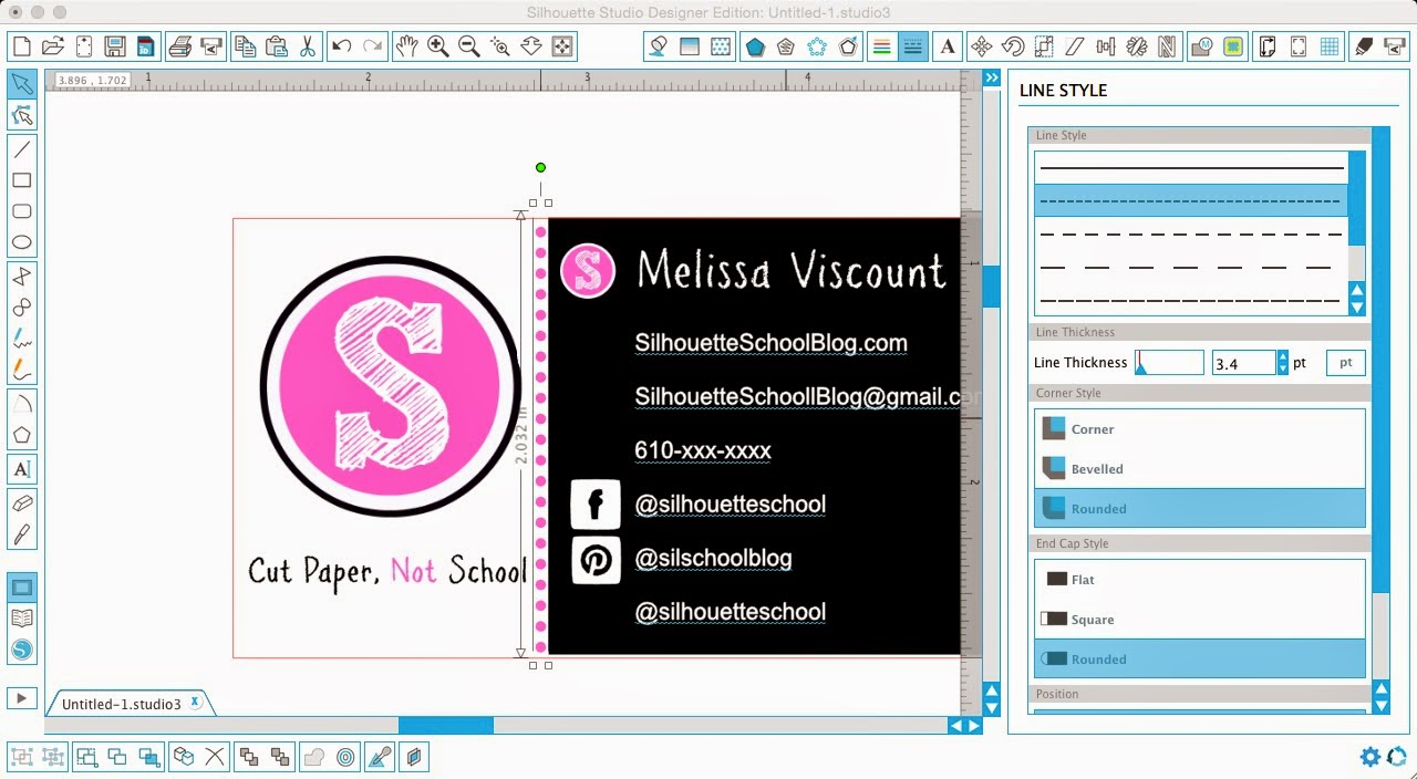 Designing business cards in silhouette studio silhouette school silhouette studio design business cards diy do it yourself line style solutioingenieria Gallery