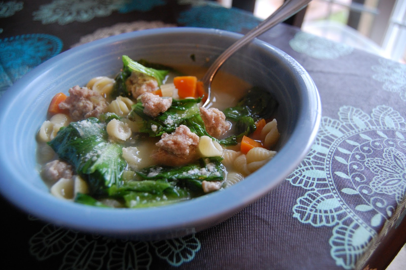 Escarole Meatball Soup Adapted From Rachael Ray 2 Tablespoons Extra Virgin Olive Oil Carrots Chopped Ribs Celery 1 Medium Onion
