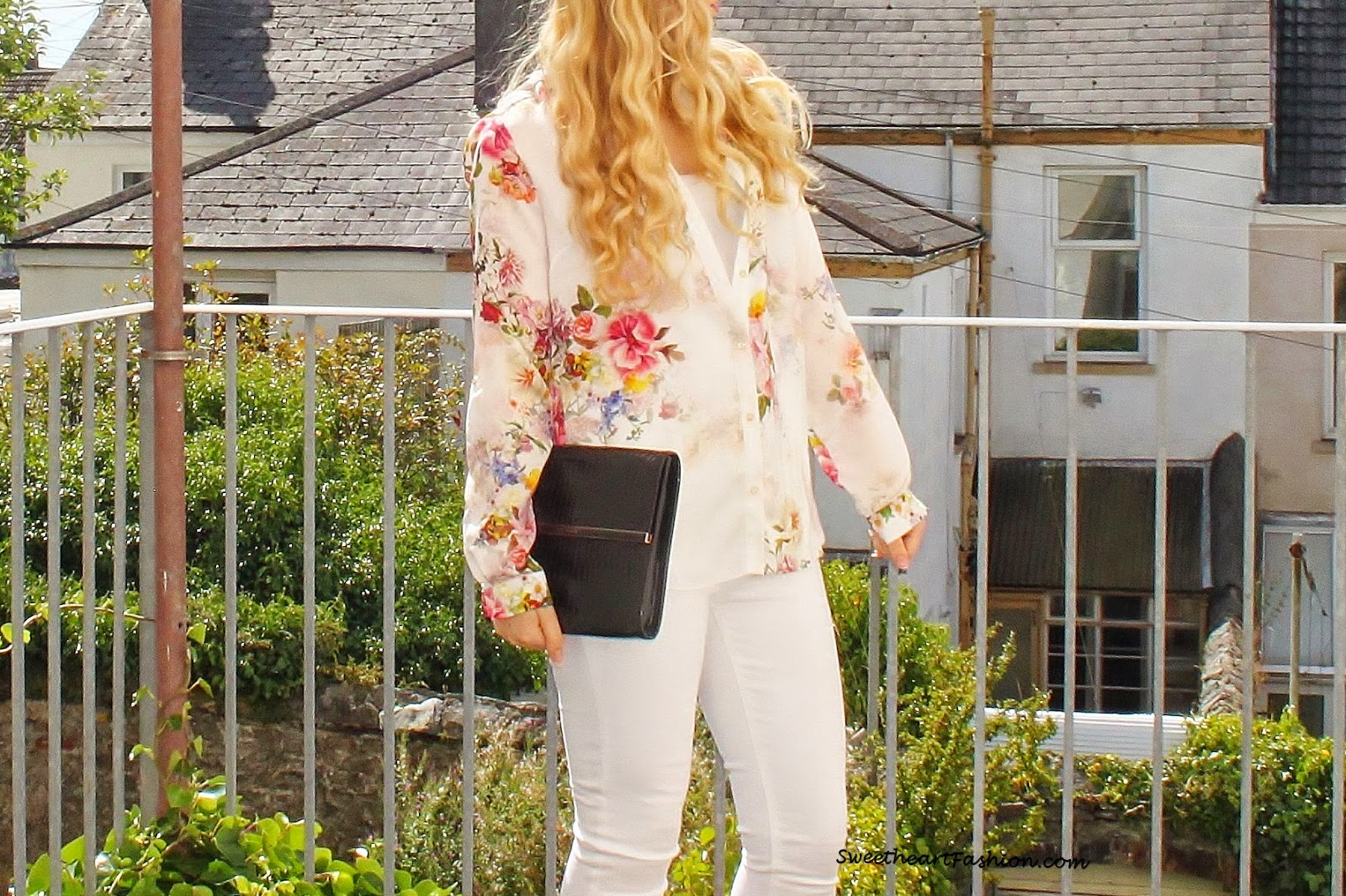Sweetheart Fashion Chic White Skinny Jeans Floral Shirt