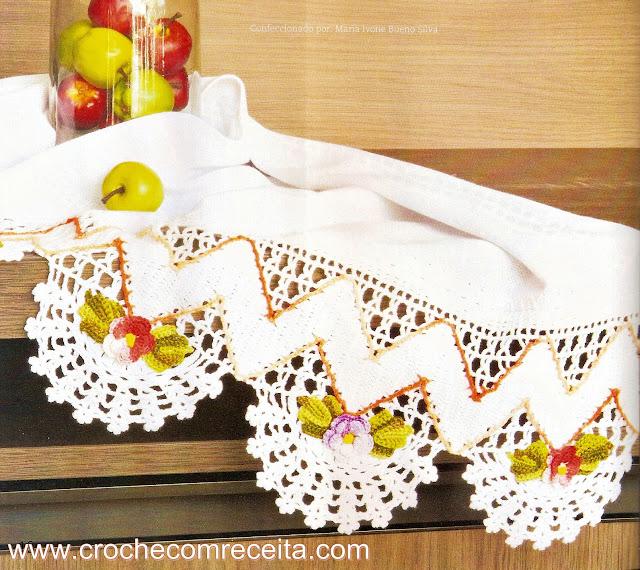 barrado em croche ziguezague floral para panos de copa em croche com receita e gráficos