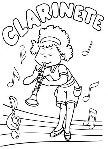 clarinete para colorear