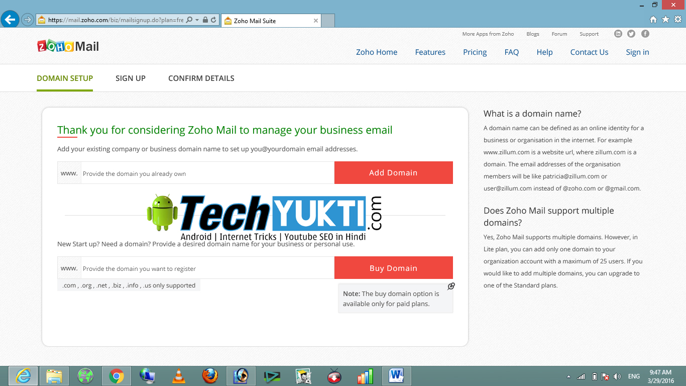 how to get domain name mail adress free