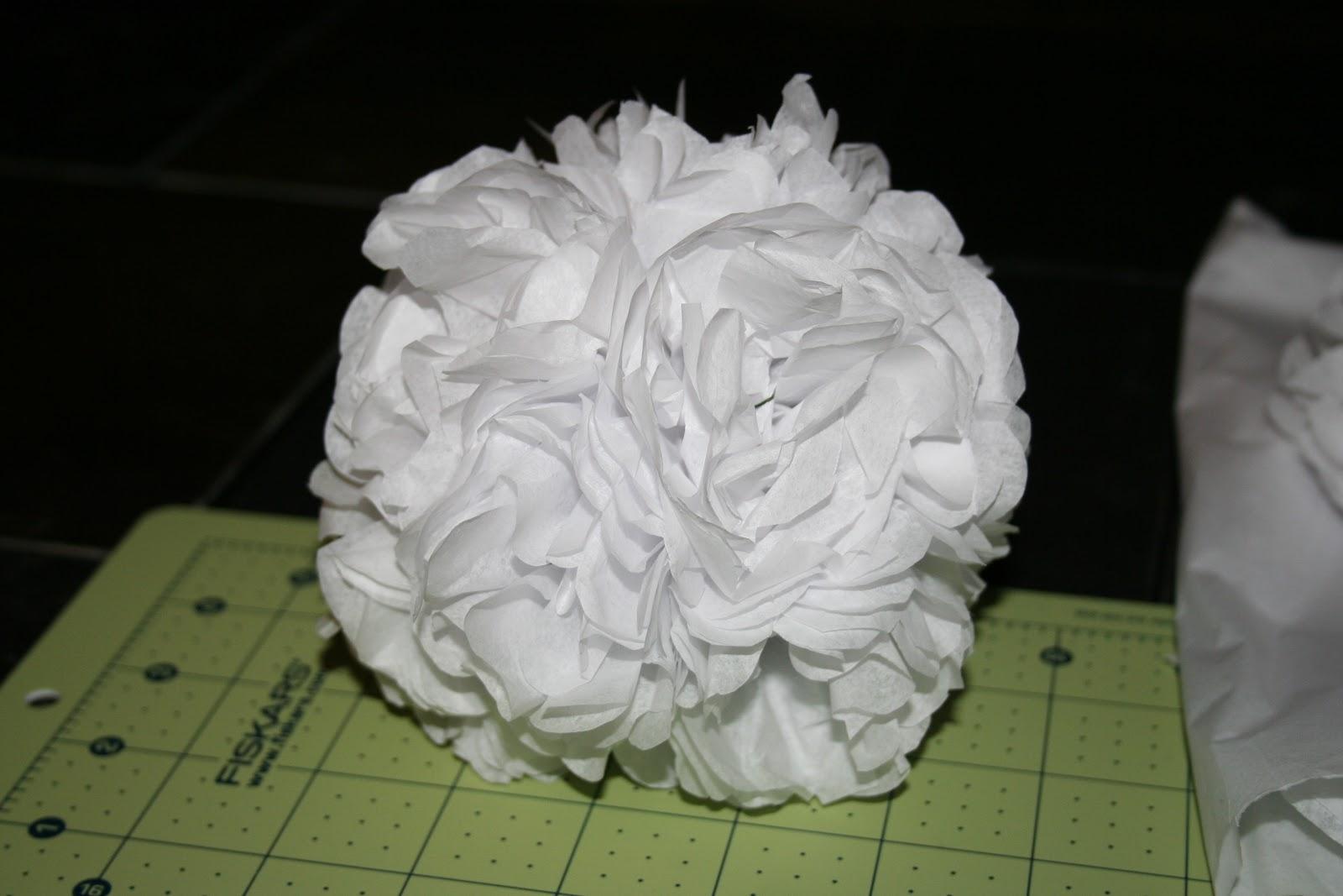 completed white tissue paper pomander