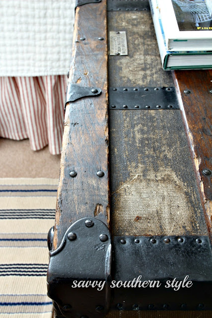 old trunk for side table by Savvy Southern Style, featured at I Love That Junk