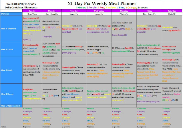 Meal Plan Week 1, 21 Day Fix and Cize Hybrid