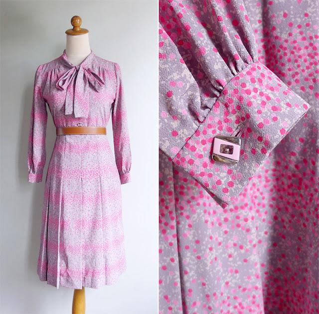 vintage 1970's secretary painted dots dress