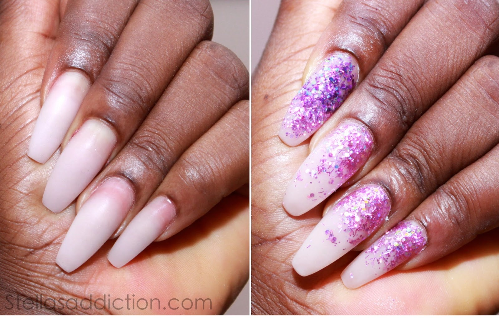NOTD Pink Glitter Ombre Nail Art - Stella\'s Addiction