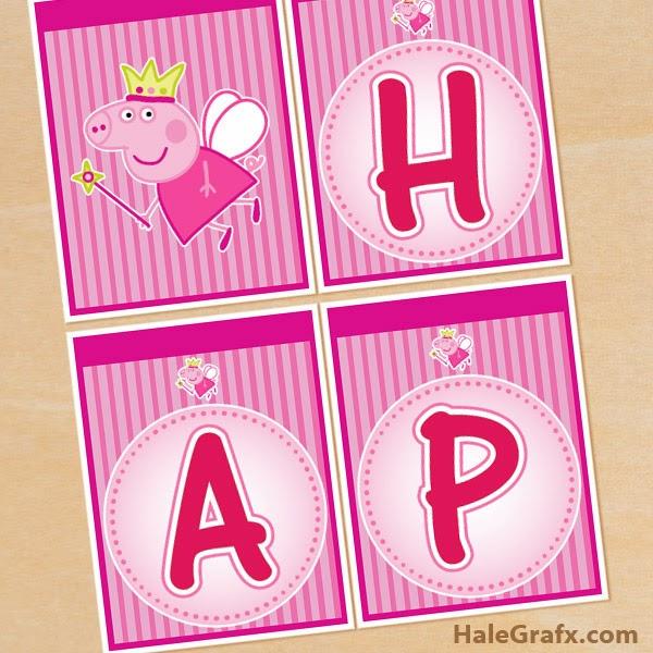 Peppa Pig Hada Banderines De Happy Birthday Para Imprimir Gratis