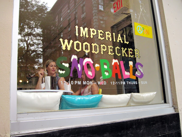 It's hard to miss this new in New York establishment as the bright sign of Imperial Woodpecker Sno-balls stand out from the street