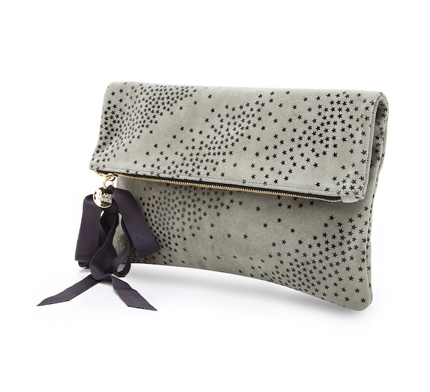 Clare Vivier Star Print Fold Over Clutch With Grosgrain Ribbon Tassel In Gray