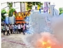 YSRC chief Y.S. Jagan Mohan Reddy's supporters burst crackers near his residence